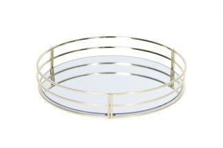 HZ1950130 Поднос зеркальный с золотыми бортам...